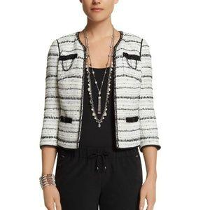 WHBM Black &White Tweed Embellished Cropped Jacket